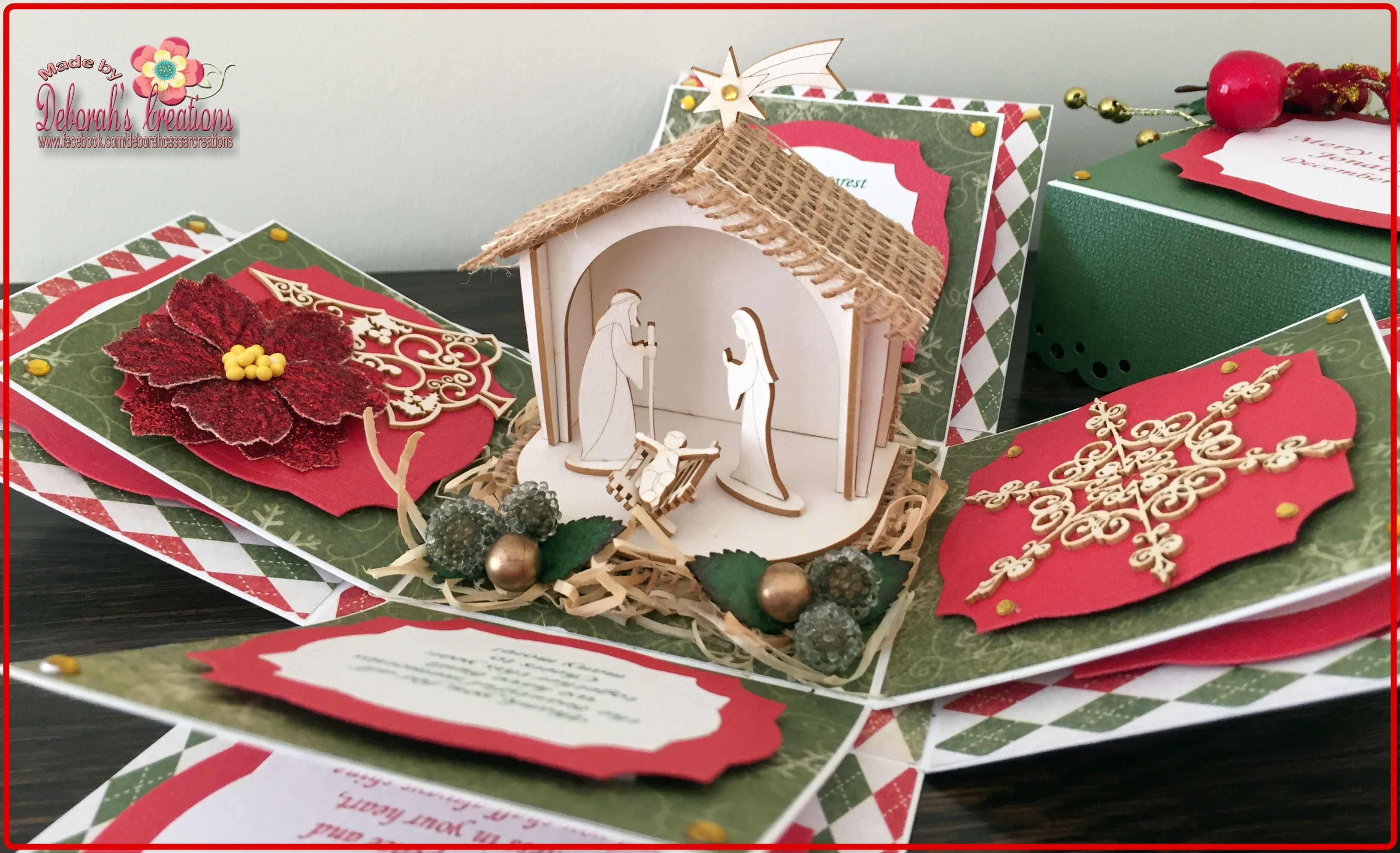 Christmas Exploding Box Card With Crib Exploding Box Card Card Box Xmas Cards