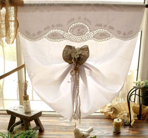 Vintage FRENCH Antique *tatting Lace Rustic Burlap BOW Door Curtain Tie Upu2026