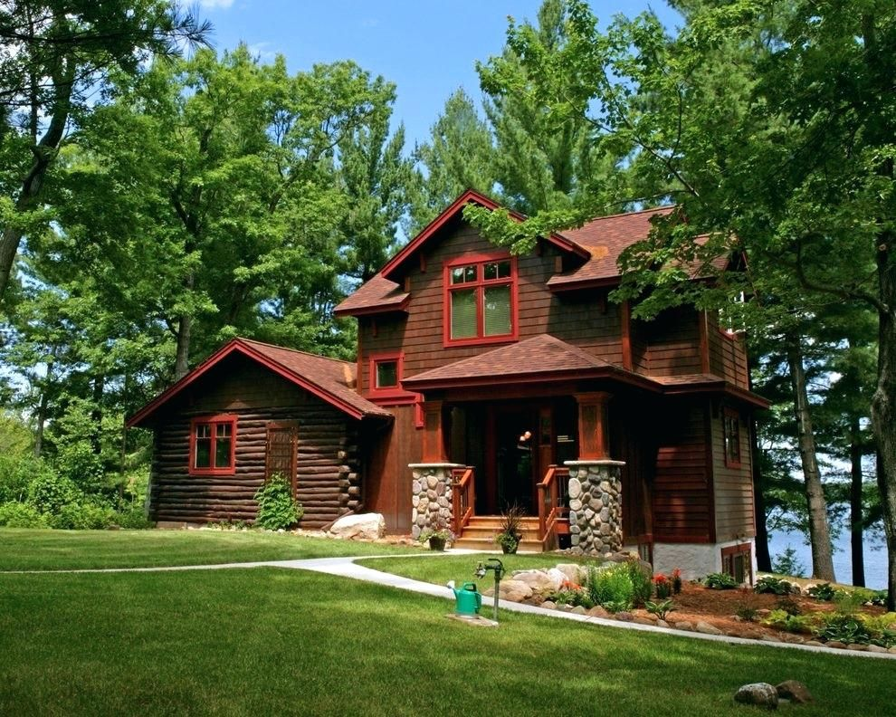 Brown House Exterior Trim Ideas Rustic With Boulders