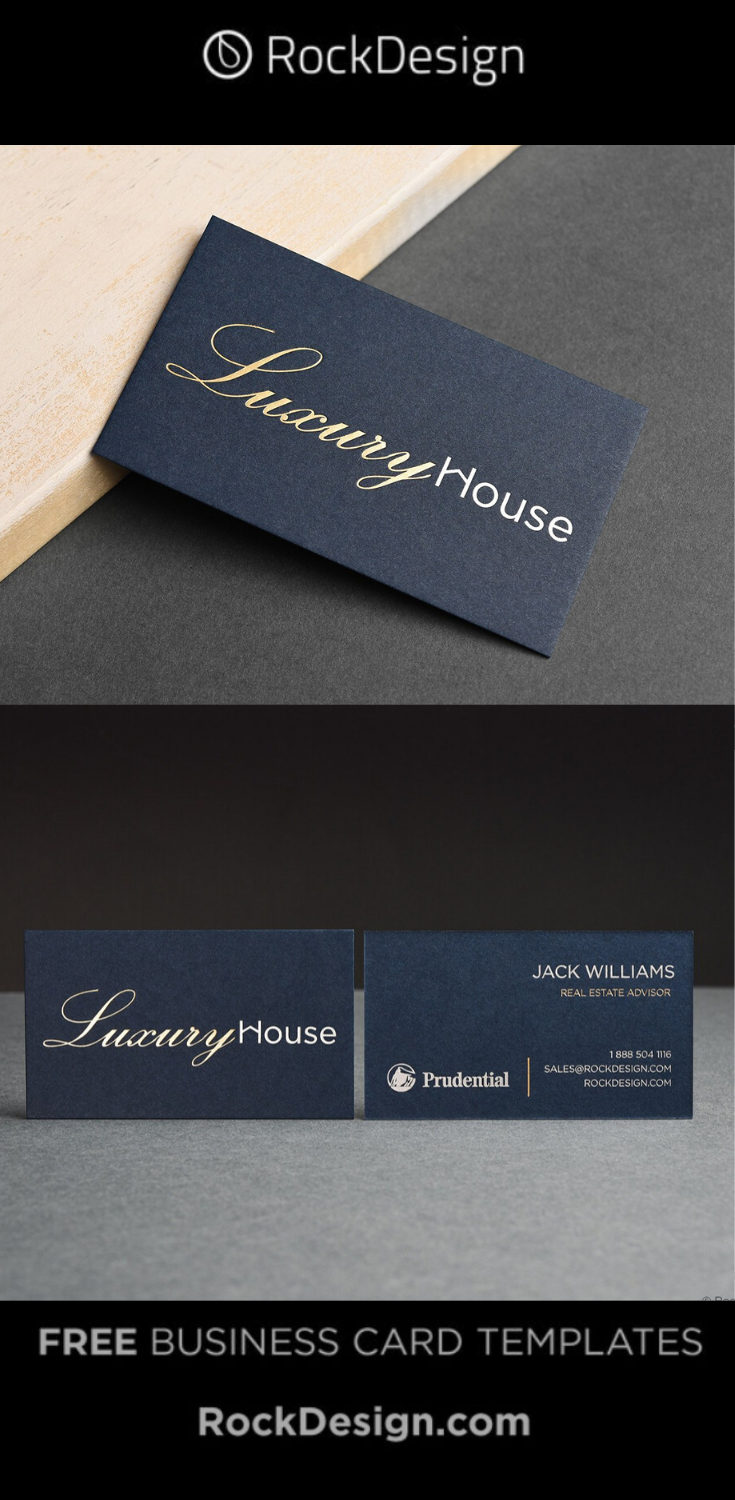 Professional Realtor Navy Card With Foil Stamping Luxury House Business Card Design Luxury Business Cards Foil Business Cards