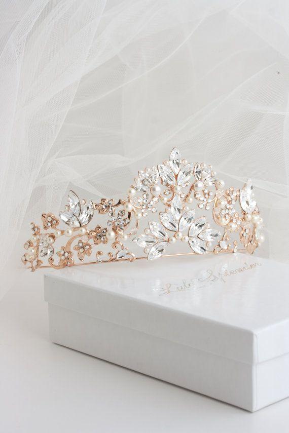 Items similar to Bridal Crown Bridal Tiara Rose Gold Wedding Tiara Swarovski Crystal Crown Tiara Wedding Bridal Tiara Headpiece SIAN on Etsy