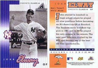 John Elway Baseball Card John Elway New York Yankees Baseball Card
