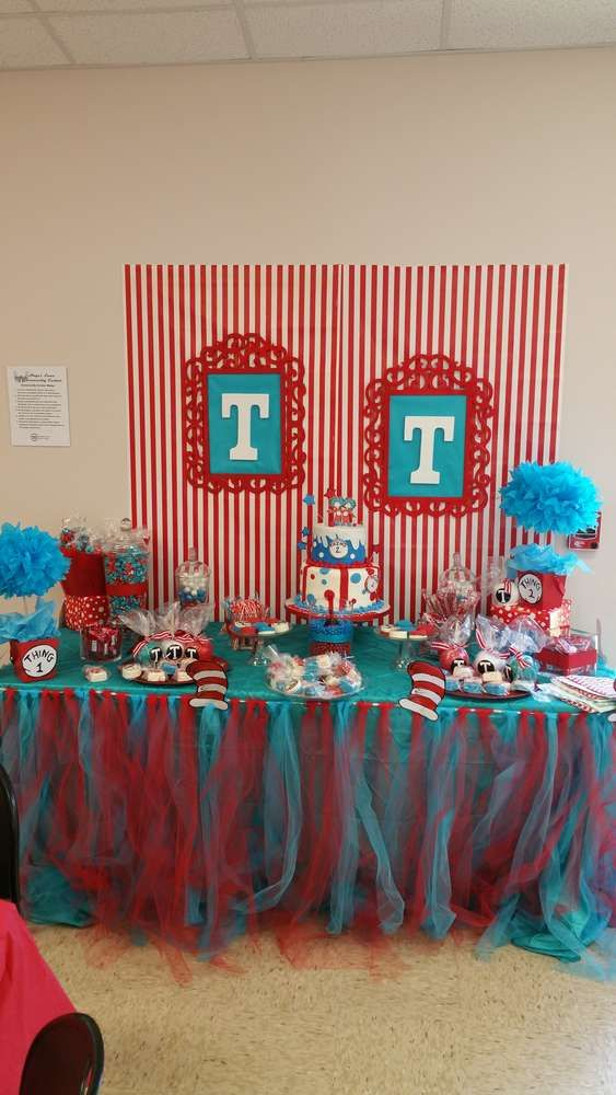 Thing 1 And Thing 2 Baby Shower Party Ideas In 2019 Dr Seuss