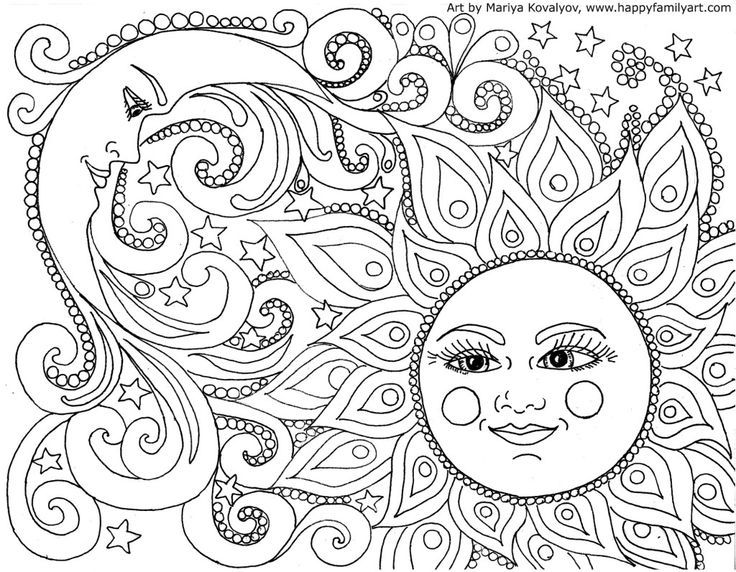 Sun Moon Coloringpages Coloring Adultcoloringpages Moon