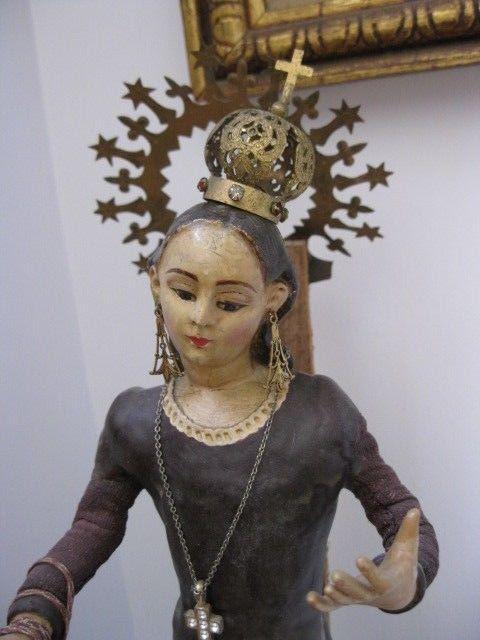 Antique Paper Mache Santos Madonna Doll with Crown Scapular & Rhinestone…