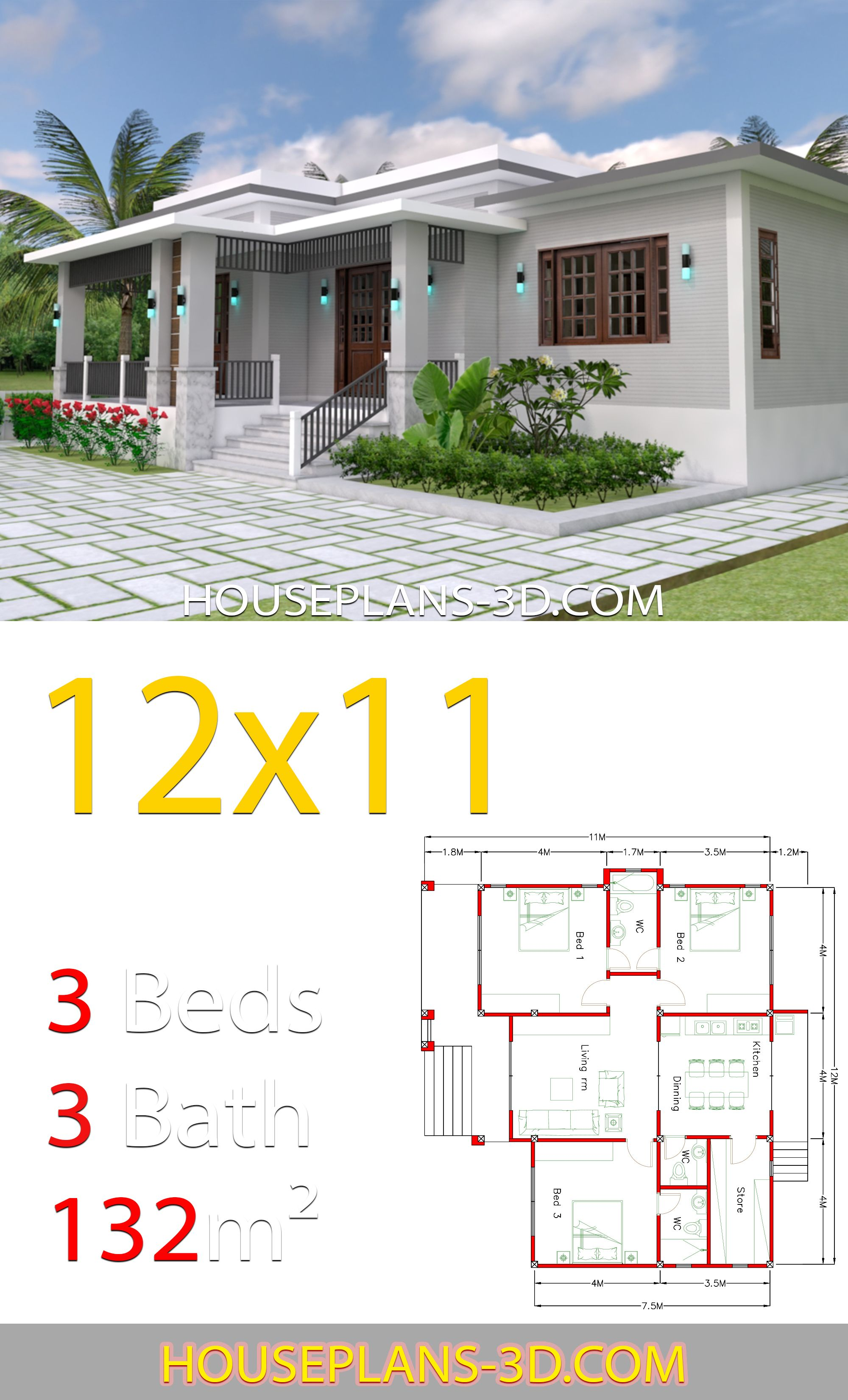 Home Design 12x11 With 3 Bedrooms Terrace Roof Maison Architecte