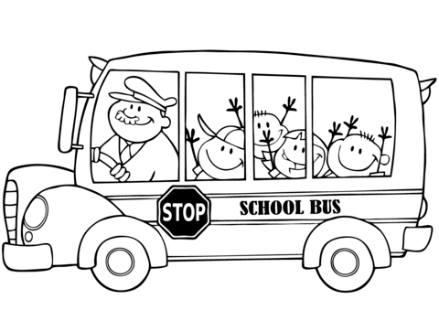 School Bus with Happy Children Dibujo para colorear | ingles ...