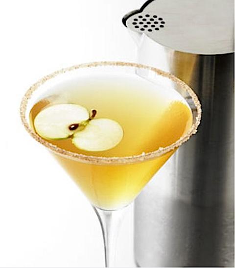 Apple Crisp Martini...  GREY GOOSE® L'Orange Flavored Vodka,   lemon wedge,   cinnamon sugar,   small apple diced,  simple syrup,    Tuaca® Liqueur ...
