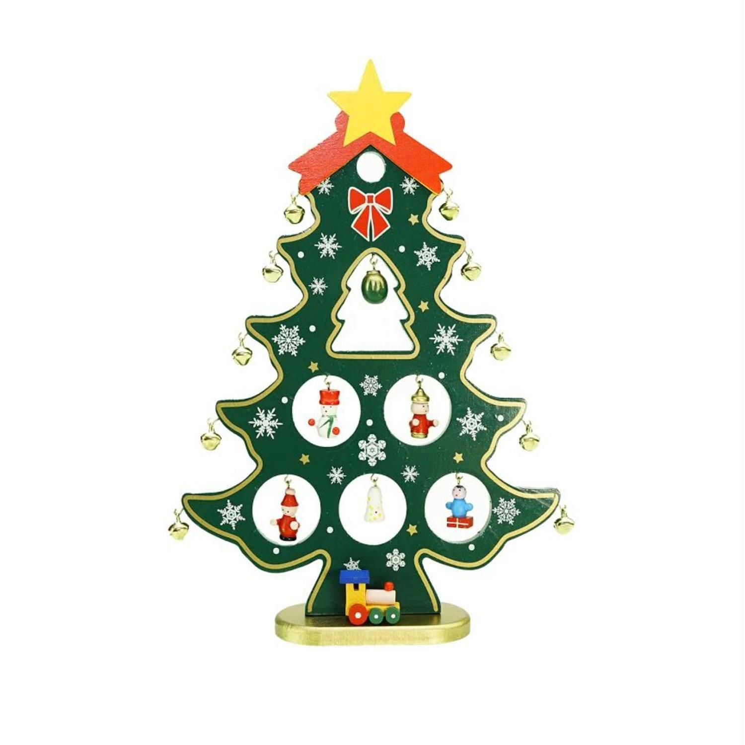 1125 Wooden Christmas Tree Cut Out With Miniature Ornaments Table Top
