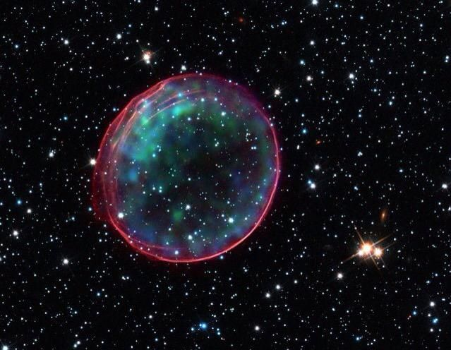 The remants of a Supernova caught by Scientists. Cosmic rays being projected outward from the center. #Space