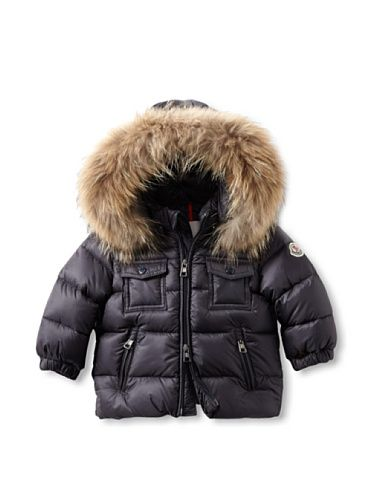 46357fa8e 55% OFF Moncler Kid  s Padded Jacket with Hood and Fur Trim (Blue ...