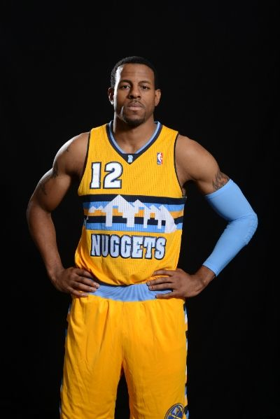 c07c2349fd82  Nuggets guard forward Andre Iguodala models a prototype of the team s new  alternate jersey. Garrett Ellwood NBAE Getty Images