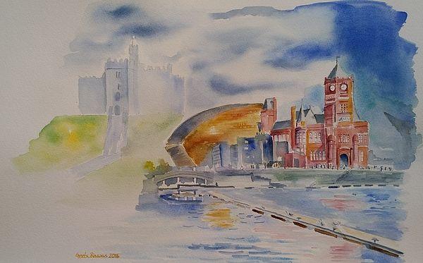 Cardiff Memoir Cardiff Wales Europe Uk Watercolor
