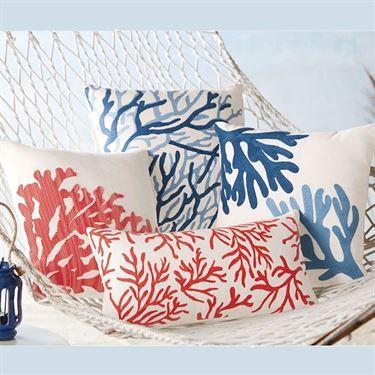 Photo of Coral Coastal Decorative Accent Pillows