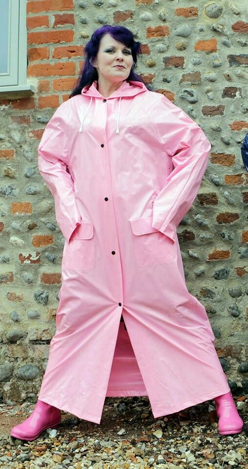 Pink Pvc Raincoat Helena Fm63, Pink Plastic Trench Coat