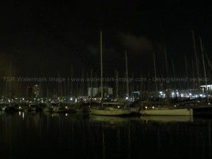 Barcelona marina at night. The ships look so calm in the chill air that blows through the marina.