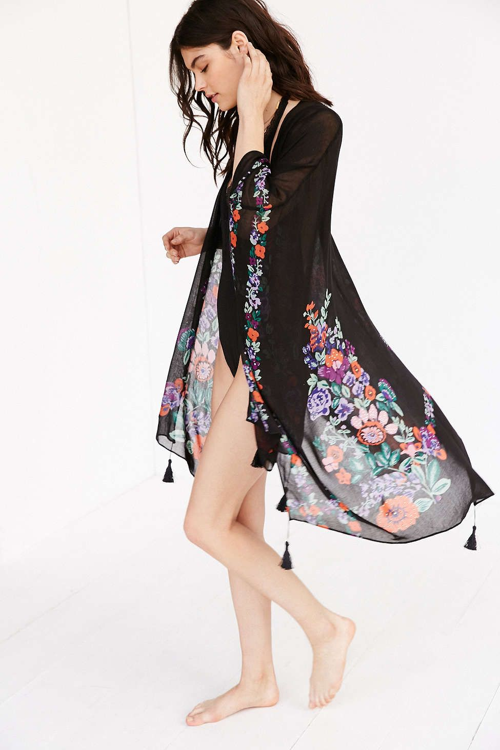 Garden floral embellished poncho ponchos floral and urban outfitters