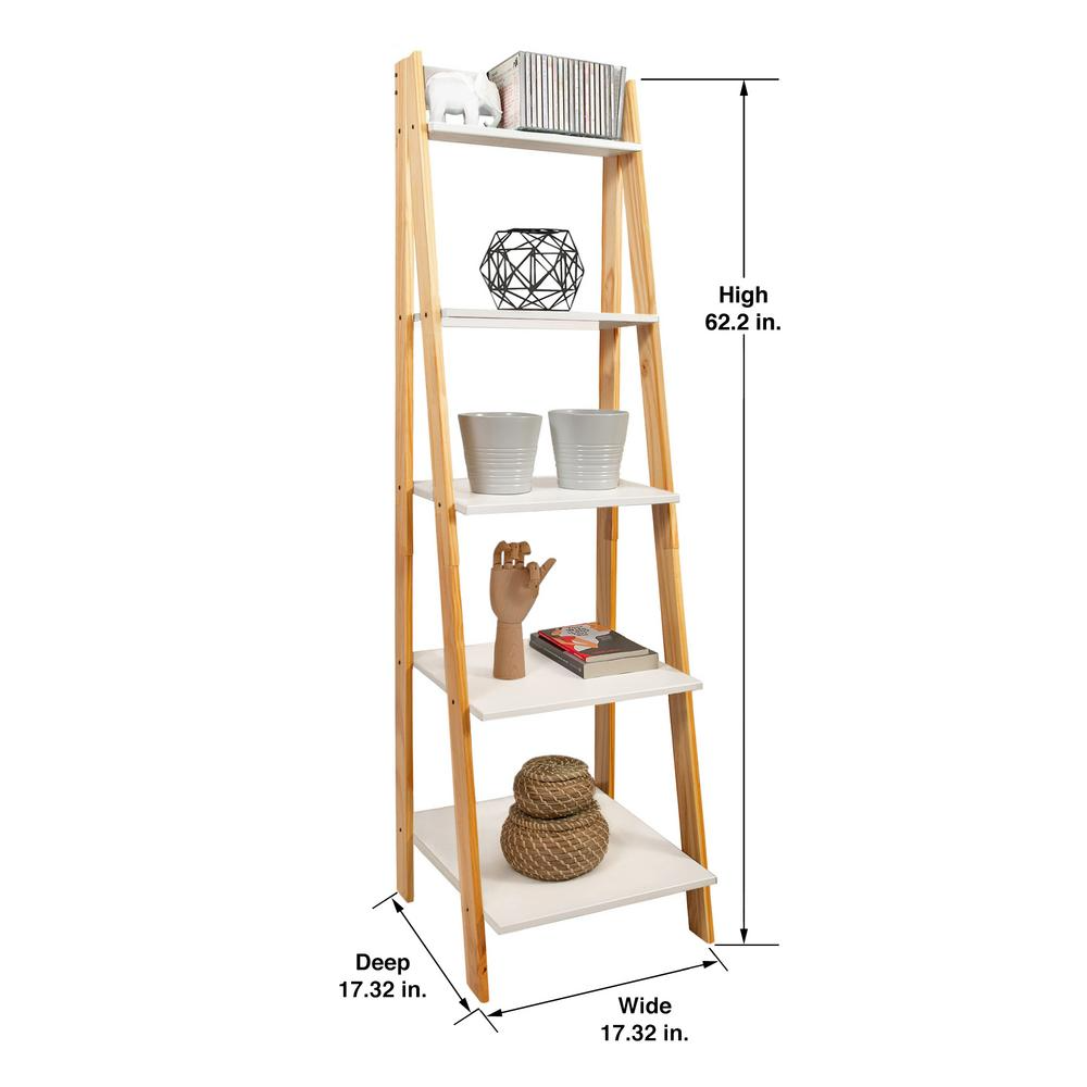 Adeptus 62 2 In Natural White Wood 5 Shelf Ladder Bookcase With Open Back 95083 In 2020
