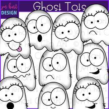Free Halloween Clip Art - Ghost Tots {jen hart Clip Art} #clipartfreebies