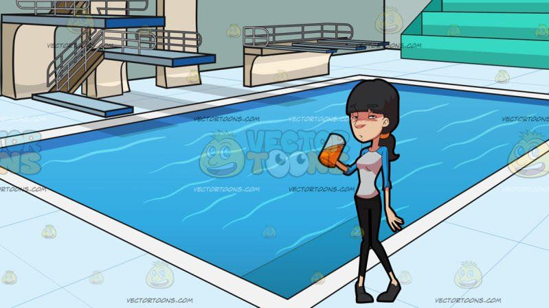 A Drunk Woman With A Mug Of Beer At Indoor Olympic Style Diving Pool:  A woman with fringed black hair tied into a ponytail wearing a white shirt with light blue long sleeves black pants gray flats looking intoxicated while drinking beer from a mug on her right hand. Set in a room with an olympic size deep diving pool with multiple diving platforms and rails aqua green benches light grayish blue walls light powder blue deck and paneled lighted ceiling.