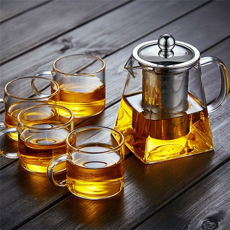 Clear Glass Teapot Jug With Infuser Coffee Tea Leaf Herbal Pot Heat Resistant