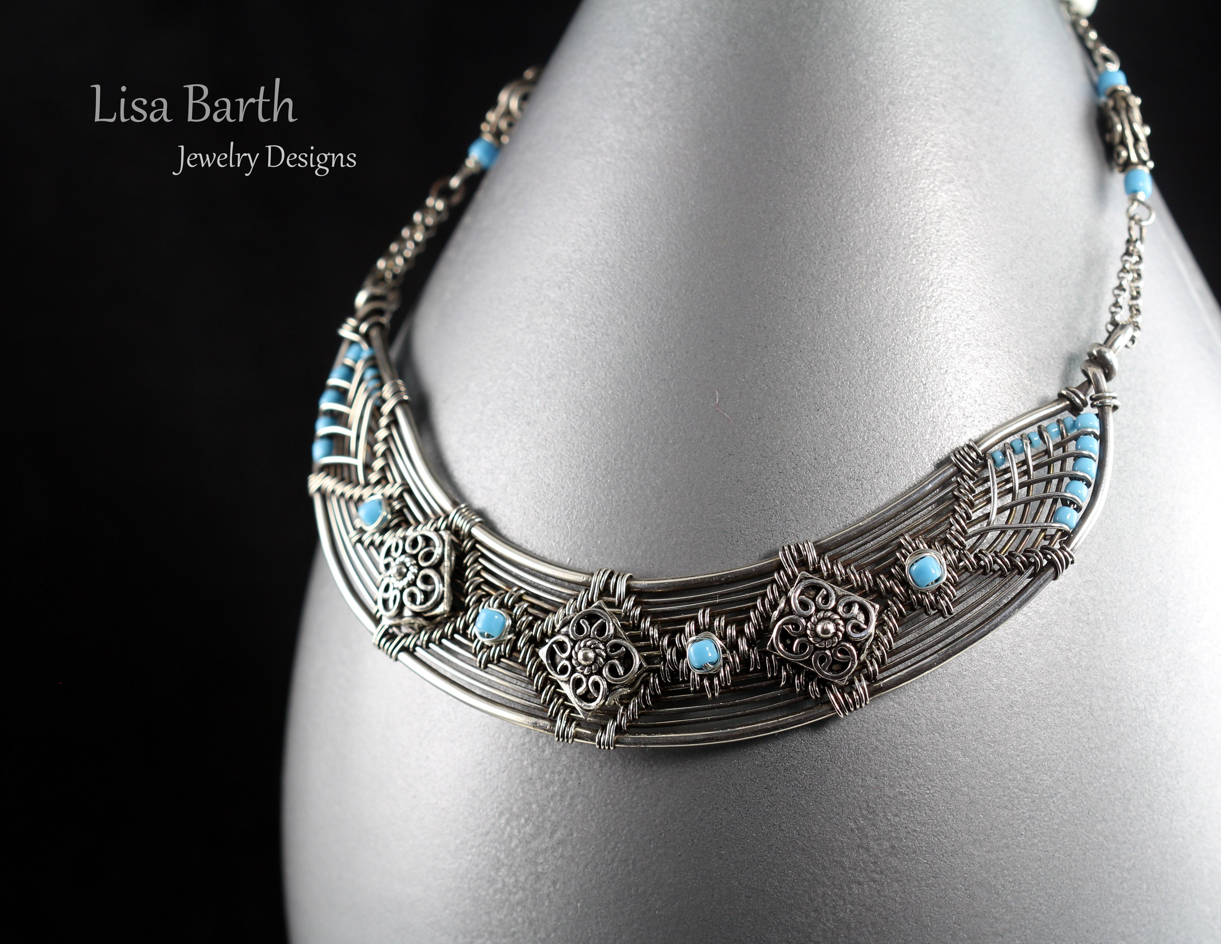 I worked on this one all weekend. With this necklace, I adapted a bracelet design so it could be a bit more versatile and worn around your neck. What the heck, why not? It is all sterling silver with some turquoise seed beads. https://www.etsy.com/shop/LisaBarthJewelry?ref=hdr_shop_menu