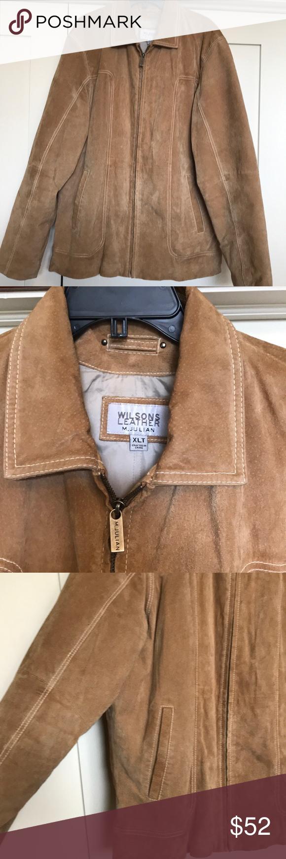 Wilson's M JULIAN Tan Suede Leather Jacket EUC Very clean