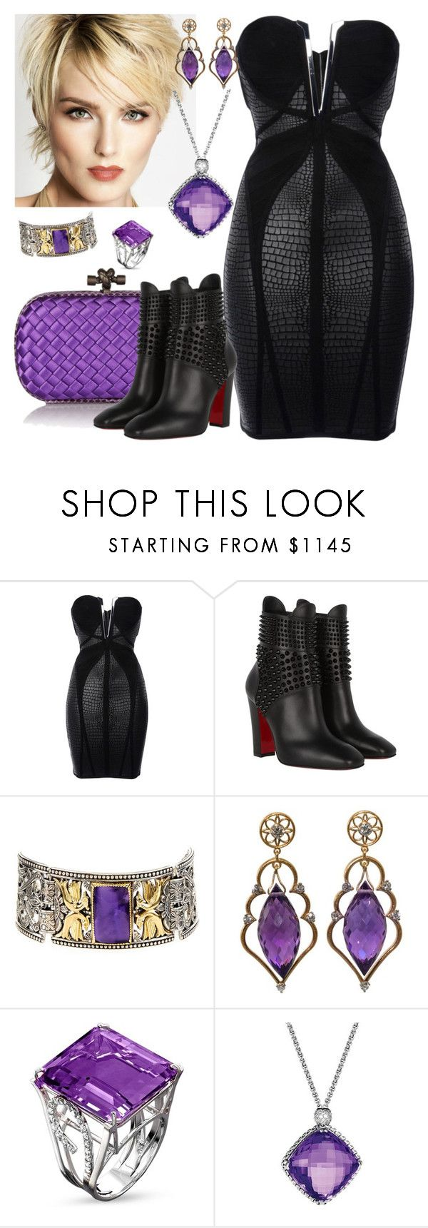 """Amethyst Rock"" by kaylyn-80864 ❤ liked on Polyvore featuring Hervé Léger, Bottega Veneta, Christian Louboutin, Konstantino, Wayne Smith Jewels and David Yurman"