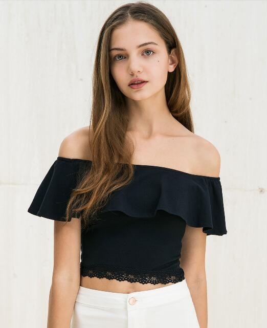 Women Ladies Off Shoulder Bardot Frill Girls Stylish Summer Casual New Bodysuit