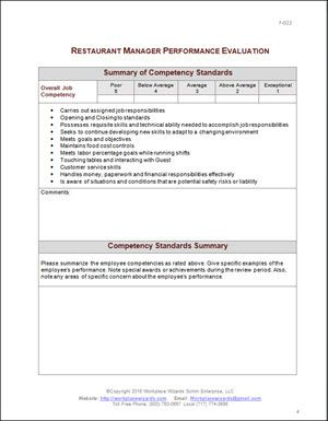 Restaurant Manager Performance Evaluation  Restaurant