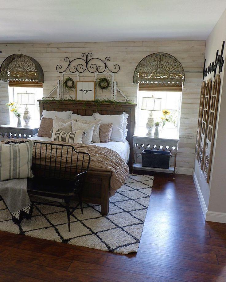 Farmhouse bedroom // rustic glam bedroom Rustic master