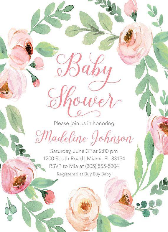 Invitación De La Ducha Del Bebé Rosa Floral Bebé Ducha