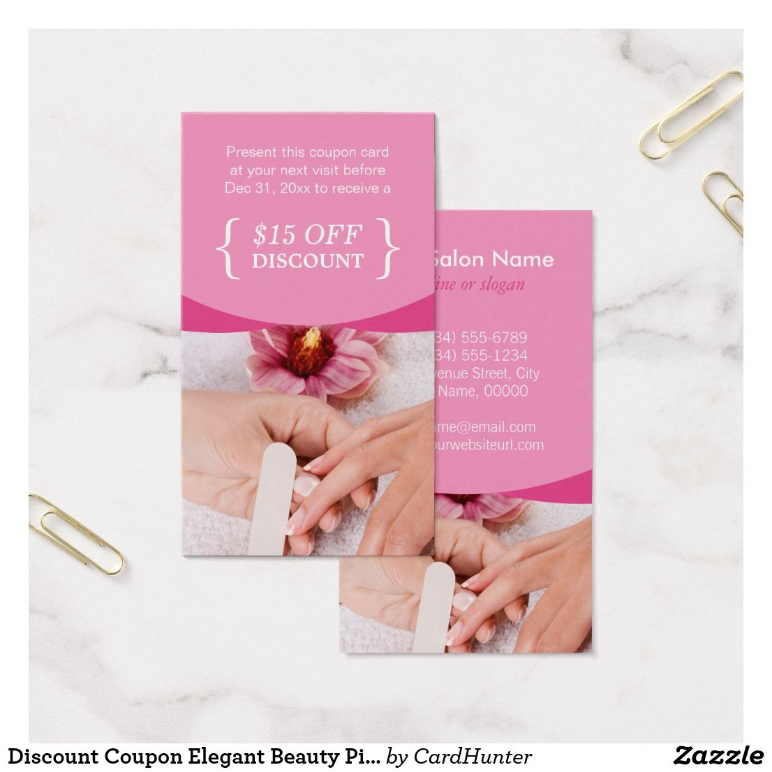 Discount Coupon Elegant Beauty Pink Nail Salon Spa Zazzle Com