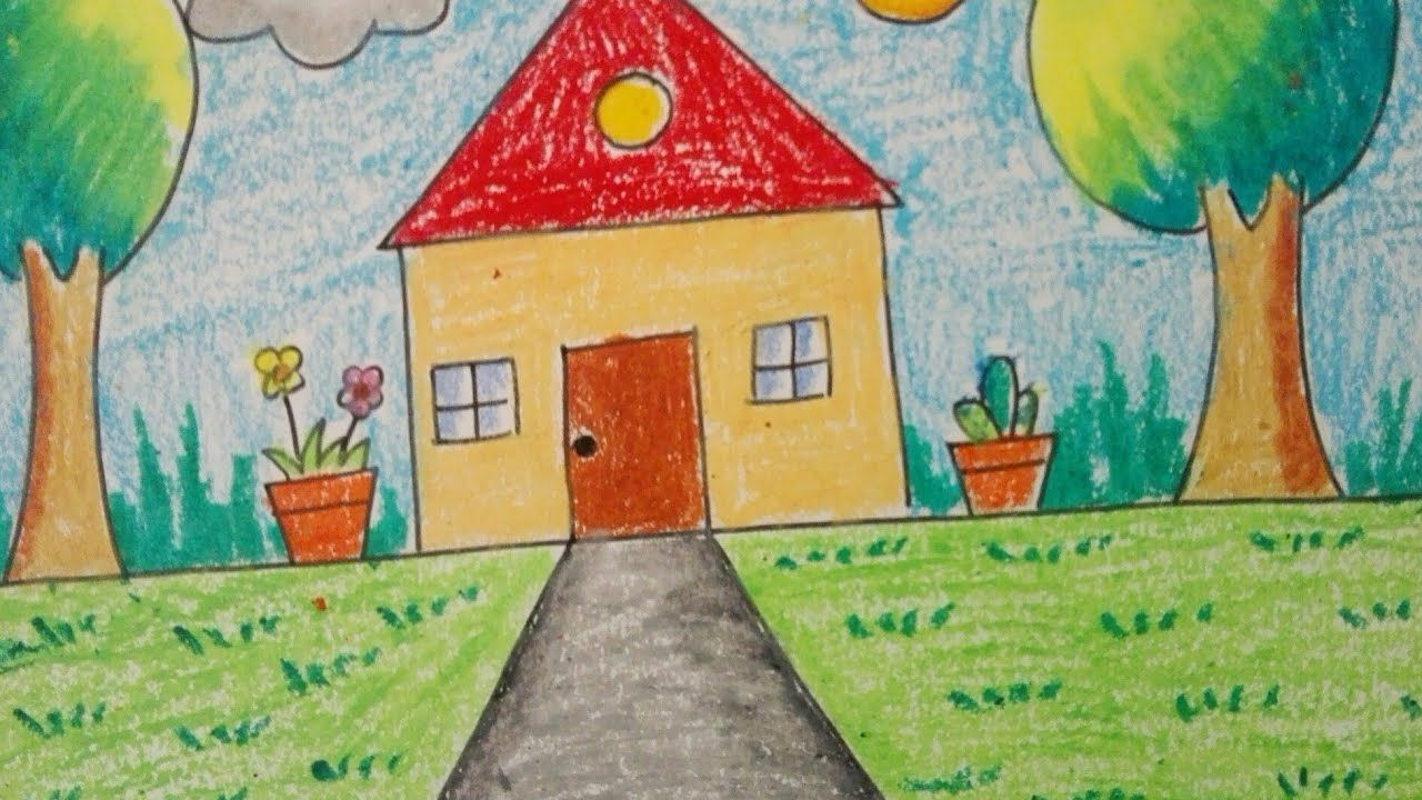 How To Draw An Easy Scenery For Little Kids Topic My Home In