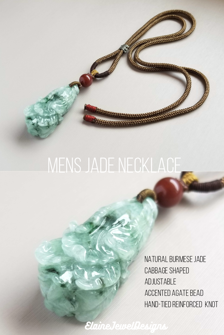 Carved jade pendant mens necklace handmade mens necklace. gemstone jade pendant necklace black agate /& stainless steel mens necklace