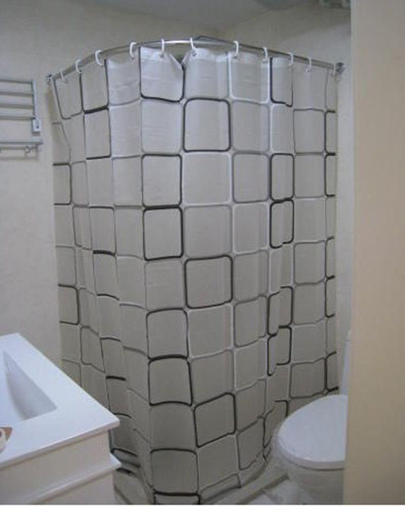 Curved Shower Curtain Rod Style With Images Corner Shower Stalls