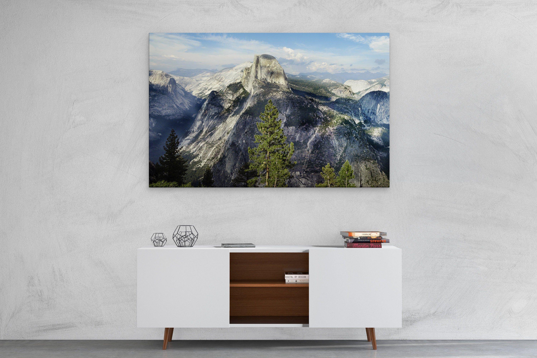Yosemite National Park Print Stretched Cotton Canvas Wall Art Decor Panel Canvas Print Split Canvas Prin Canvas Art Wall Decor Green Wall Art Canvas Wall Art