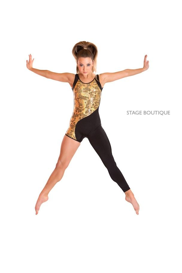 Black Gold Sequin Unitard Catsuit Contemporary Dance Costume Dance