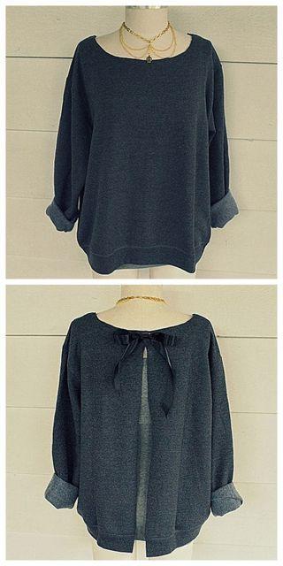 DIY Ribbon Tie Sweatshirt Refashion Tutorial from...
