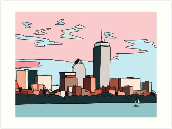 Boston Skyline By Elebea Art Print By Sabrina Brugmann In 2021 Boston Skyline Painting Skyline Painting Boston Paintings