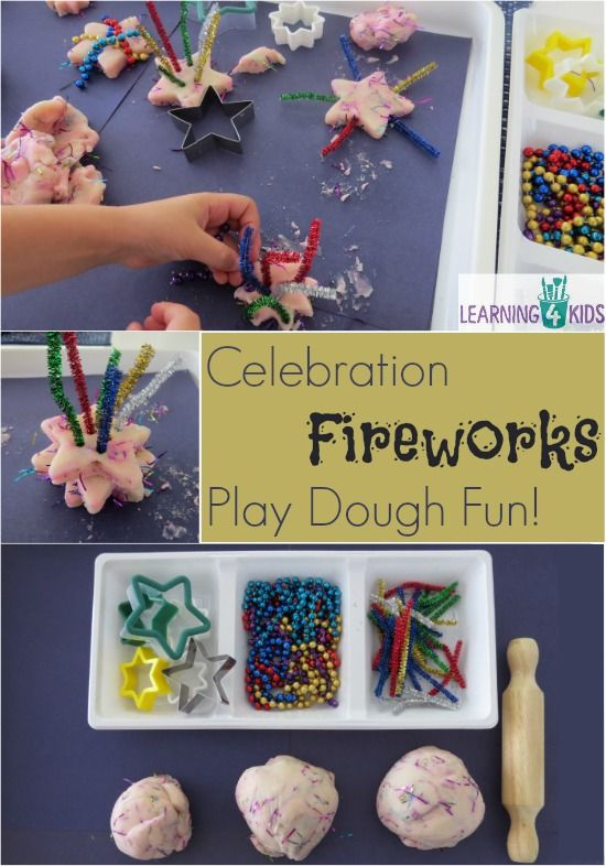 Fireworks Celebration Play Dough Activity #fireworkseyfs