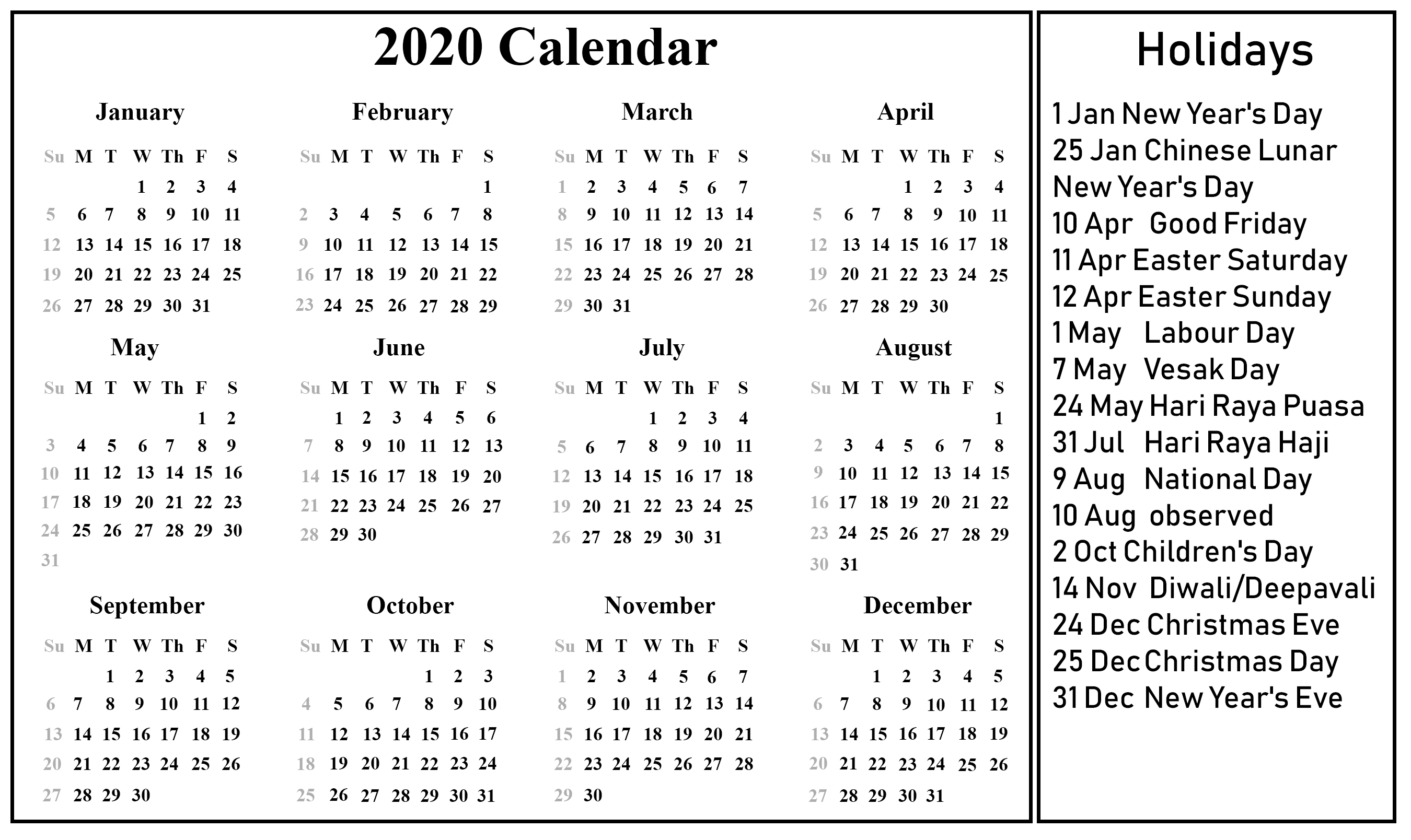 Free Printable 2020 Calendar One Page Template Holiday