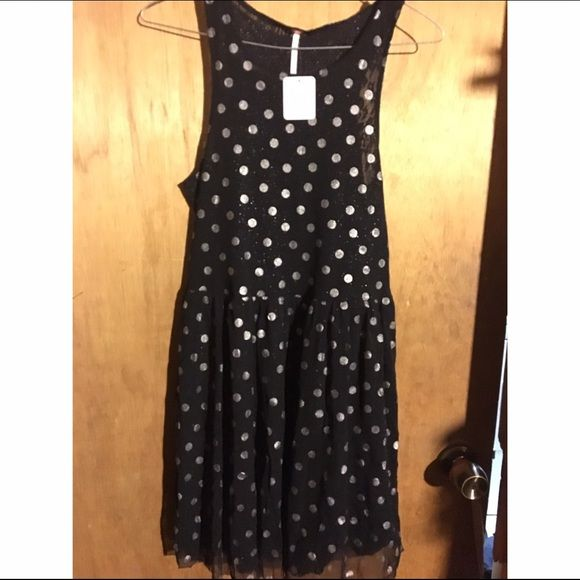 25410df5dfb9 Brand new free people black polka dot skater dress black and white polka  dot dress with lacey material. NWT Free People Dresses Mini