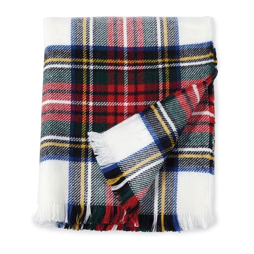 6277bf2178 Cuddle up in true holiday fashion with this white tartan plaid throw blanket