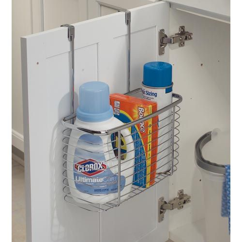 Axis Chrome Over Cabinet Deep Storage Basket In Cabinet Door Organizers