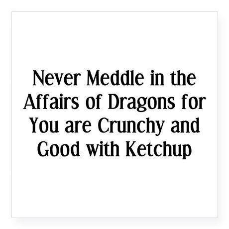 Never Meddle B Square Sticker 3 X 3 Never Dragons Square Sticker