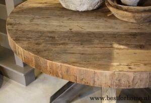 Stoere ronde eettafel oud hout robuuste landelijke tafel op
