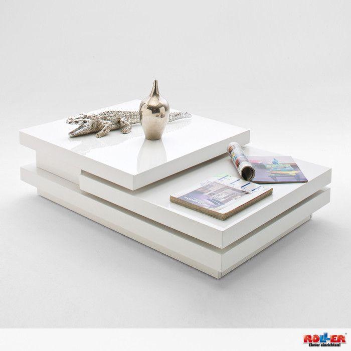 Couchtisch Alani Moderner Couchtisch In Hochglanz Weiss Lackiert Die Beiden Tischplatten Verfugen Uber Eine Praktische Dre Couchtisch Modern Couchtisch Tisch