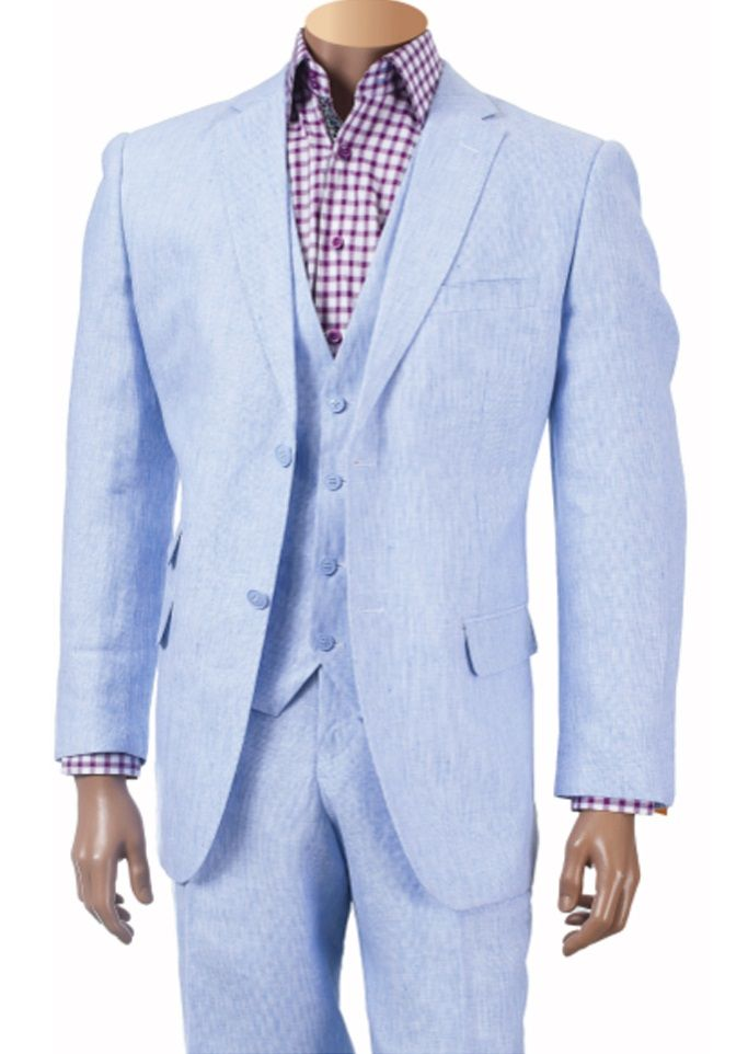 Inserch Men's Sky Blue 3 Piece Linen Suit 660119B-12 | Suited ...