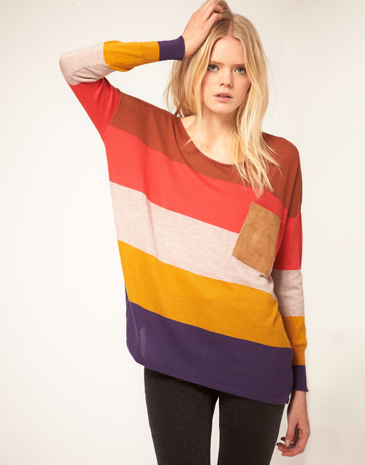 JUST FEMALE LABEL ASOS COLLECTION BASIC CLEAN SIMPLE OVERSIZED COLOR BLOCK ANGORA SWEATER SUEDE POCKET 3